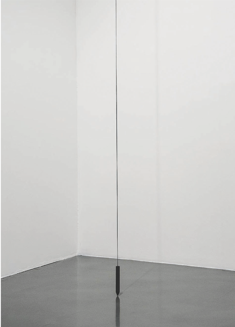 Ana Bidart, Long 99oW, 2014. Graphite rod, string, light and shadow. Dimen- sions variable. Courtesy of the artist.