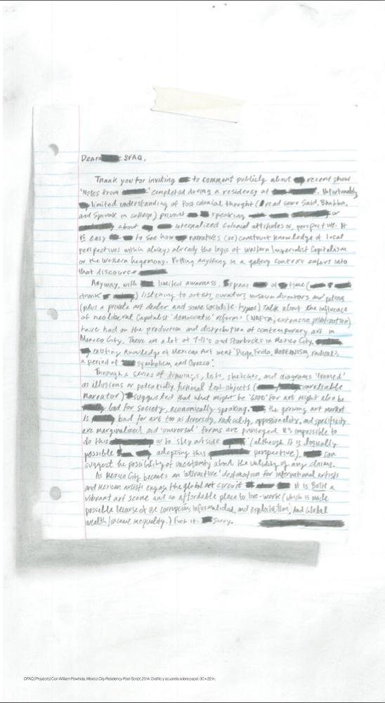 DFAQ [Proyecto] Con William Powhida, Mexico City Residency Post-Script, 2014. Grafito y acuarela sobre papel. 30 x 22 in.